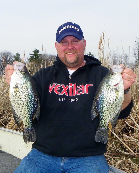 Fishing Vexilar Pro Staffer, Rob Jackson with a pair of nice slabs!