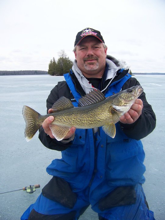 "Fishing Vexilar Pro Staffer, Keith ""Kong"" Kuebelbeck with a nice walleye"
