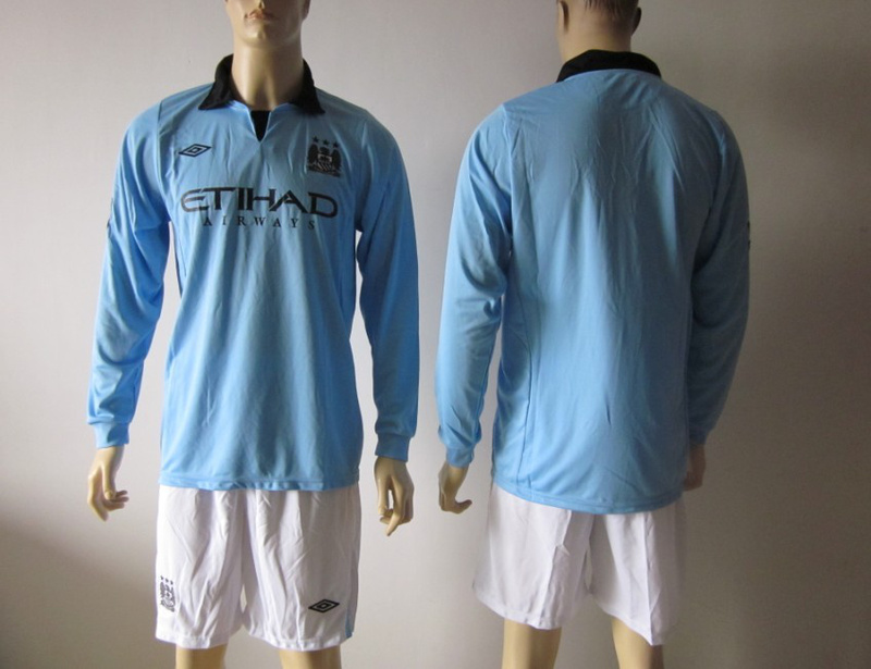 Sports Youth Manchester City Long Sleeve Home Soccer Jersey 2012-13 Season