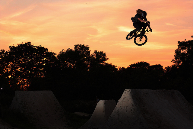 BMX Cam chilling in the setting sun.