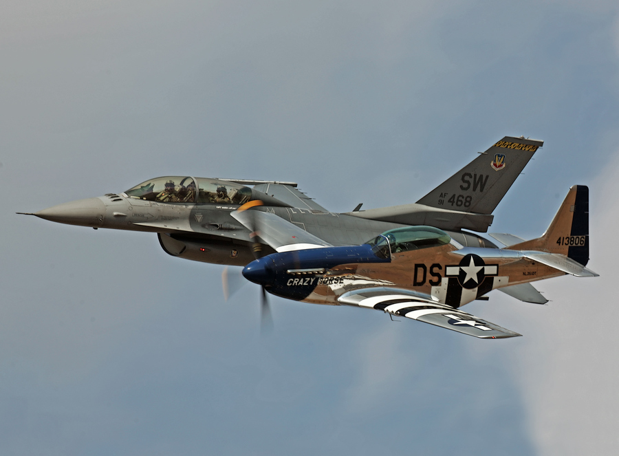 Guns and Military Heritage Flight - P-51 and F-16