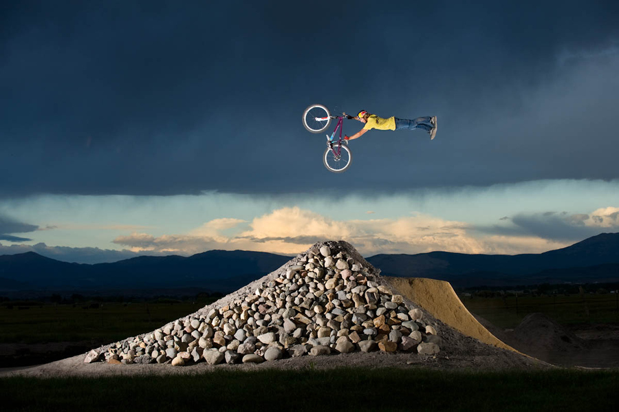 MTB Paul Basagoitia freestyle mountain bike jumping on his private track in Minden, Nevada