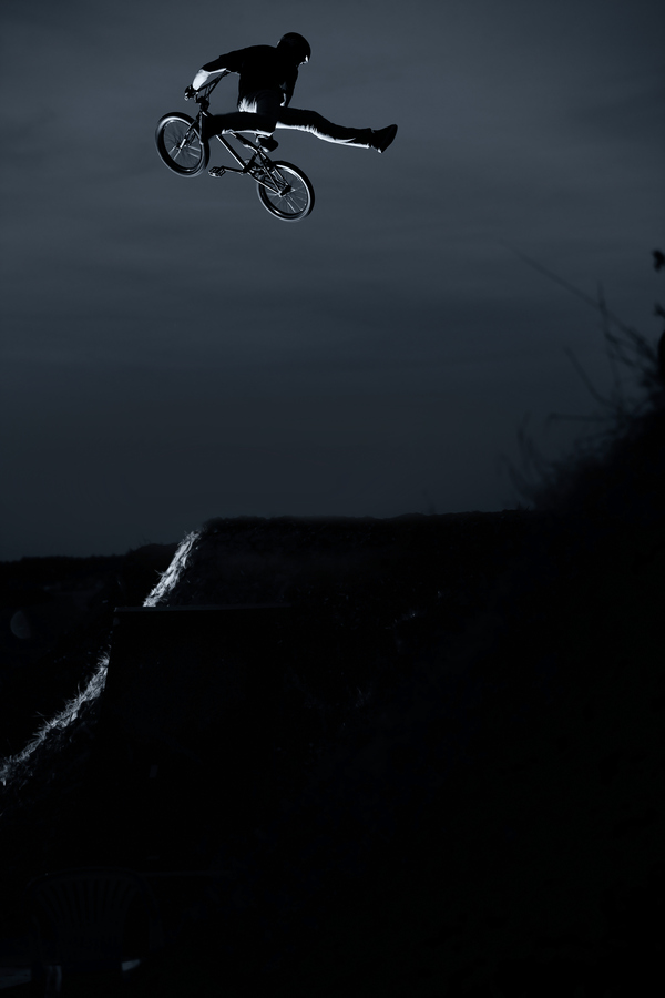 BMX Simon Moratz has got his own massive trails just in front of his house. Not bad to live in the countryside!
