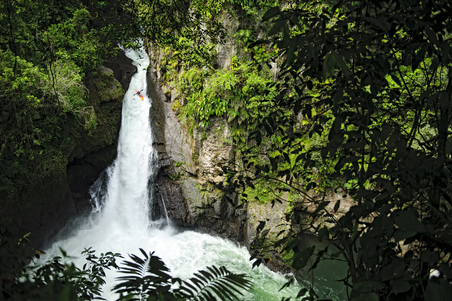 Kayak and Canoe Rafa Ortiz Rocks the 90+ foot Lower Tomata Falls on the Rio Alseseca in the Sierra Madre Mountains in Veracruz, Mexico