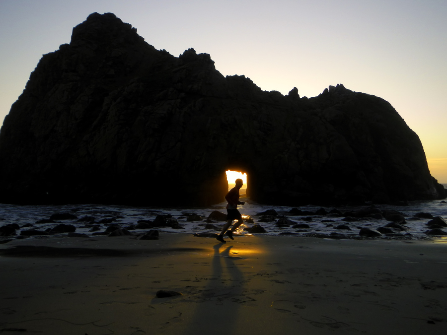 Fitness Last light of day running. Pfeiffer Beach - Big Sur, CA