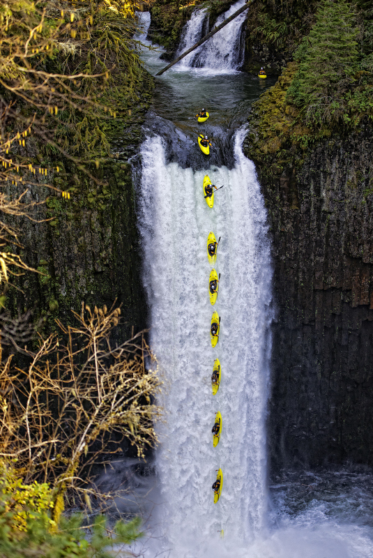 Kayak and Canoe Jesse Coombs drops the first successful descent of the 96-foot-tall Abiqua Falls, in Oregon
