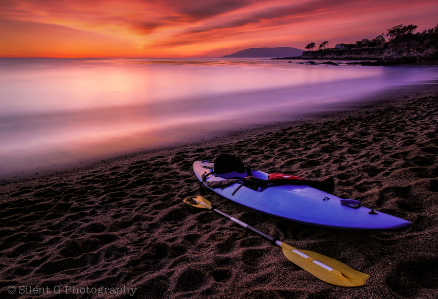 Kayak and Canoe sunset in Pismo Beach