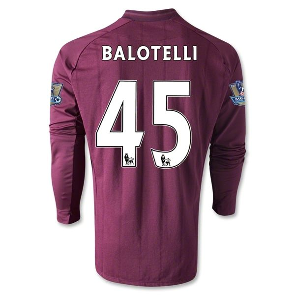 Entertainment BALOTELLI Manchester City Away Long Sleeve Soccer Jersey 2012/2013