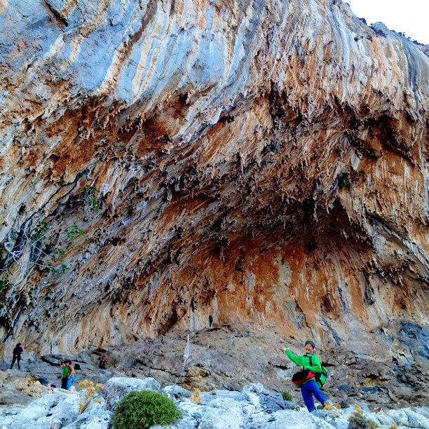 Climbing Team climber Yuji Hirayama (@stonerider_yuji) has never been to Greece before, and came all the way from Japan for the The North Face Kalymnos Climbing Festival. Here he is approaching the Grande Grotta for his first climbing day - he's mega psyched. Phot