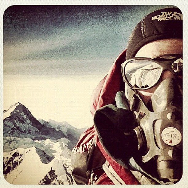 "Climbing ""@emilyaharrington self portrait at the top of the world - 8848m Mt Everest. What a climb it's been! #oneverest"""