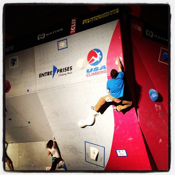 Climbing Climber @dawoods89 killin' it @ American #Bouldering Series Nationals. @unifiedBC @ City Auditorium