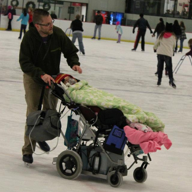 Entertainment father of the year. Here he is ice skating with his daughter who was born with a deadly genetic disease called SMA type 1.