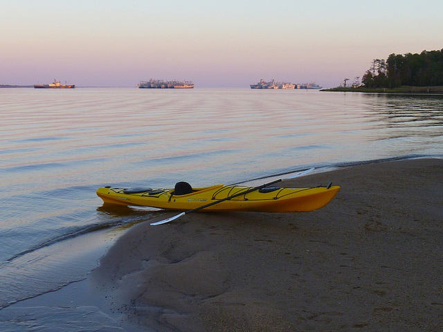 Kayak and Canoe Sunset on the James River Ghost Fleet