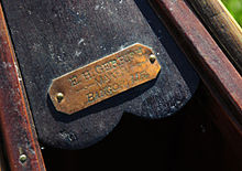 Kayak and Canoe Nameplate on a Gerrish – the earliest wood-and-canvas canoe