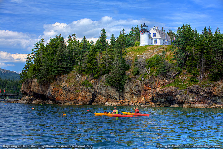 Kayak and Canoe Kayaking near the Bear Island Lighthouse in Acadia National Park