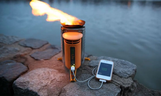 Camp and Hike Camp stove generates electricity from twigs, reduces smoke