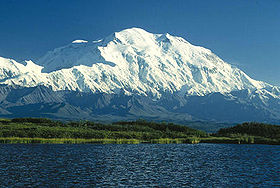 Climbing Mount McKinley from the north. Wonder Lake is in the foreground