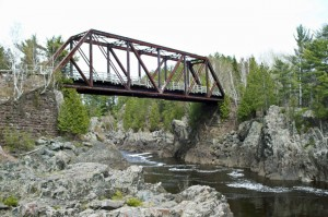 This old railroad bridge now serves as the bicycle span across the St. Louis River just west of Jay Cooke State Park