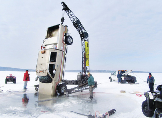 Fishing Getting your truck pulled out of the lake... This is Turner Towing of Nissawa, MN. Pulled my Navigator out of Lake Alex two days after this. He told me he filleted 6 crappies that were stuck in this truck. I will never drive on ice again no matter how thi