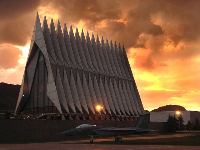 Guns and Military cool shot of USAFA cadet chapel