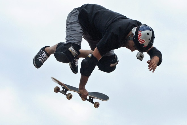 Skateboard Sandro Dias of Brazil, a member of the Extreme Sports Stars team, got some air with his skateboard in Bangalore, April 21.