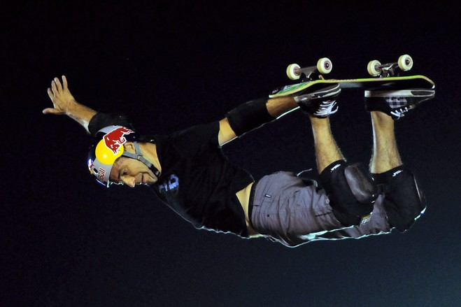 Skateboard Sandro Dias of Brazil in action during the 'Xtreme Tour.'