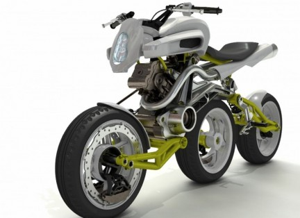 Auto and Cycle Axial Three Wheels Motorcycle Concept