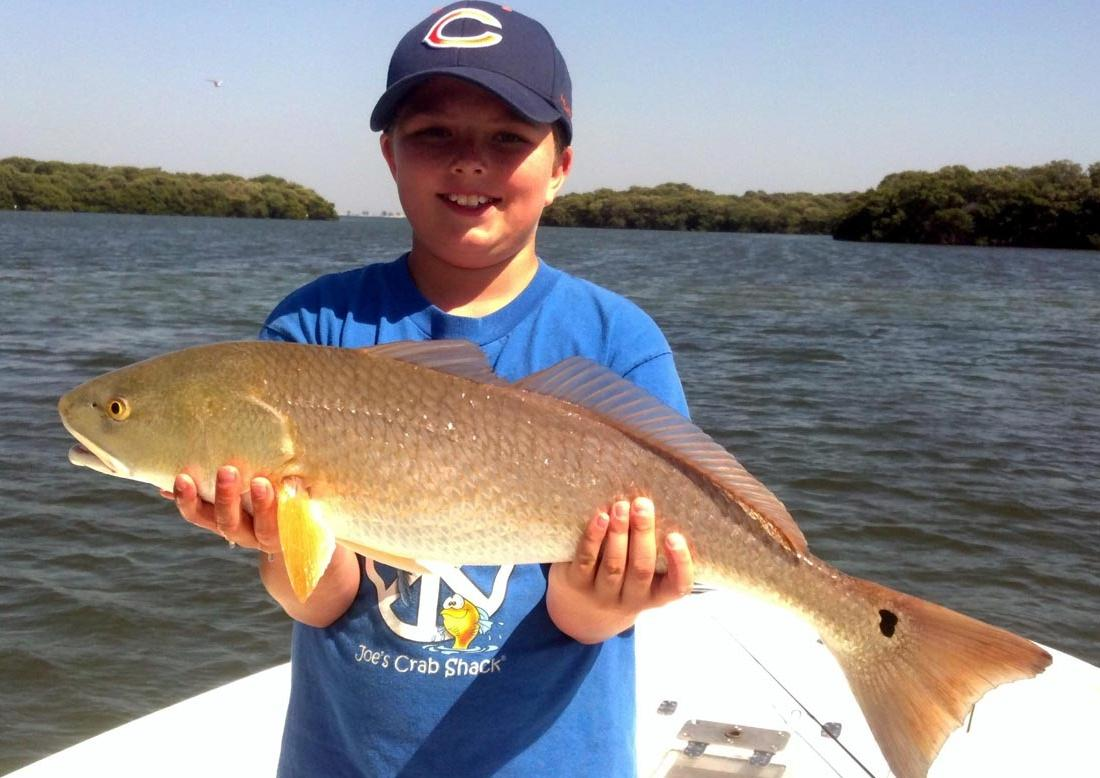Fishing Hunter Thomas of St. Petersburg shows off a 27-inch redfish he caught near Cockroach Bay.