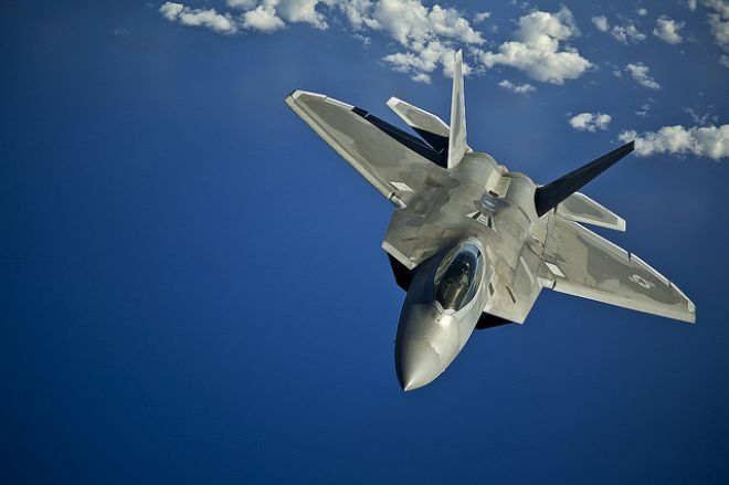 Guns and Military Mar. 27, 2012: An F-22 Raptor returns after refueling near the Hawaiian Islands.