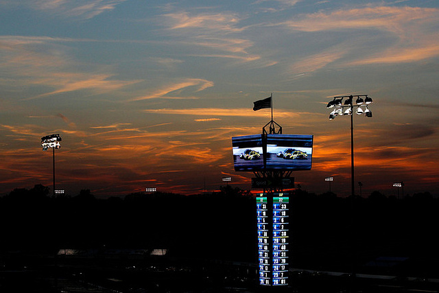 Motorsports A view of the scoring pylon at sunset during the NASCAR Nationwide Series Virginia 529 College Savings 250 at Richmond International Raceway on April 27, 2012 in Richmond, Virginia. (Photo by Tom Pennington/Getty Images for NASCAR)