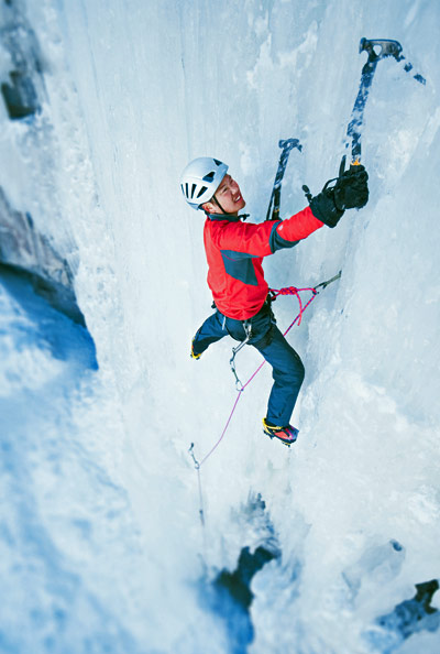 Climbing Ice climbers use crampons and ice axes to get vertical on frozen walls that sometimes melt even as they climb.