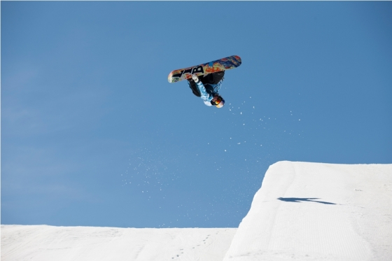 Snowboard Scotty James in action at Snowpark in Wanaka, New Zealand