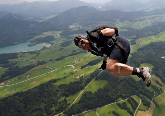 Extreme Thomas Reisenbichler (Team HSV Red Bull Salzburg) of Austria seen during the Parachute World Cup in Thalgau