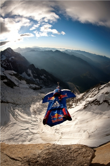 Extreme Valery Rozov basejuming at the Red Bull from top to b.a.s.e. event in Courmayeur, Italy