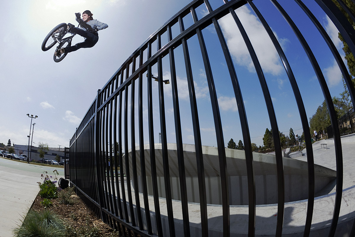 BMX Justin Sexauer hits one out of the park with a turndown over the fence.