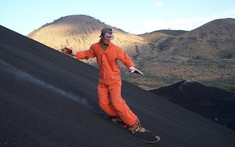 Extreme  'volcano boarding'