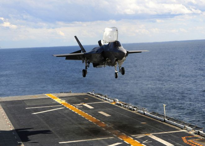 Guns and Military Oct. 3, 2011: An F-35B Lightning II makes the first vertical landing on a flight deck at sea aboard the amphibious assault ship USS Wasp (LHD 1).