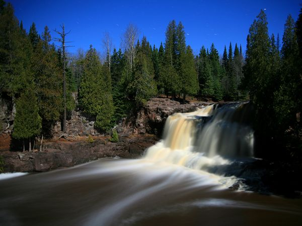 Camp and Hike Upper Gooseberry Falls at Gooseberry Falls State Park along the North Shore of Lake Superior in Minnesota.