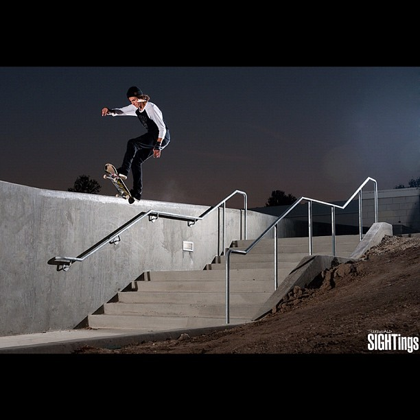 Skateboard David Loy frontside five-0 180 out in Simi Valley, California.