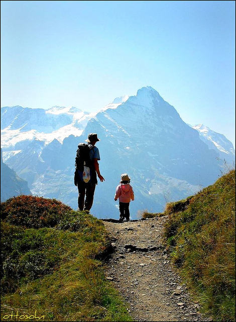 Camp and Hike Daddy and daughter, Eiger, Switzerland.