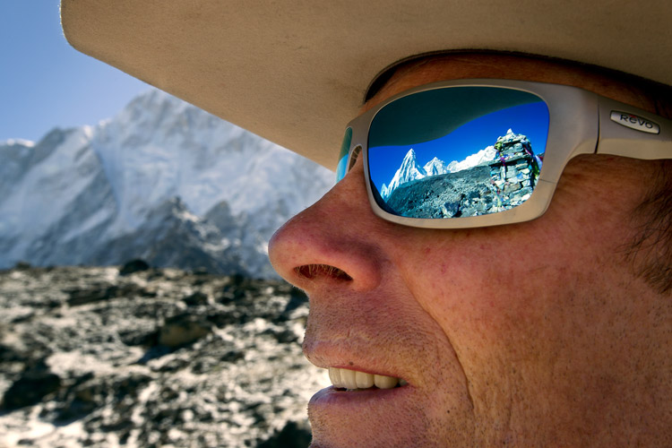 Extreme The Khumbu Glacier is reflected in Conrad Anker's sunglasses near Base Camp.