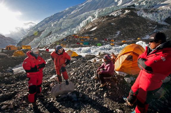 Extreme Dawa and Danuru (at right) talk with fellow Sherpas at Camp 2.