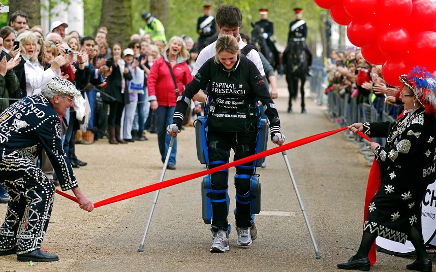 Extreme RESPECT...Claire Lomas, who is paralysed from the waist down following a horse riding accident, completes the London Marathon in a bionic ReWalk suit, 16 days after the race began