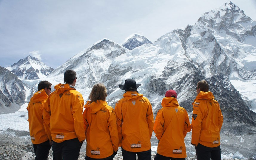 Extreme The Walking With The Wounded expedition team are pictured after it was announced that their Everest summit attempt had been postponed for this year's climbing season because of safety concerns