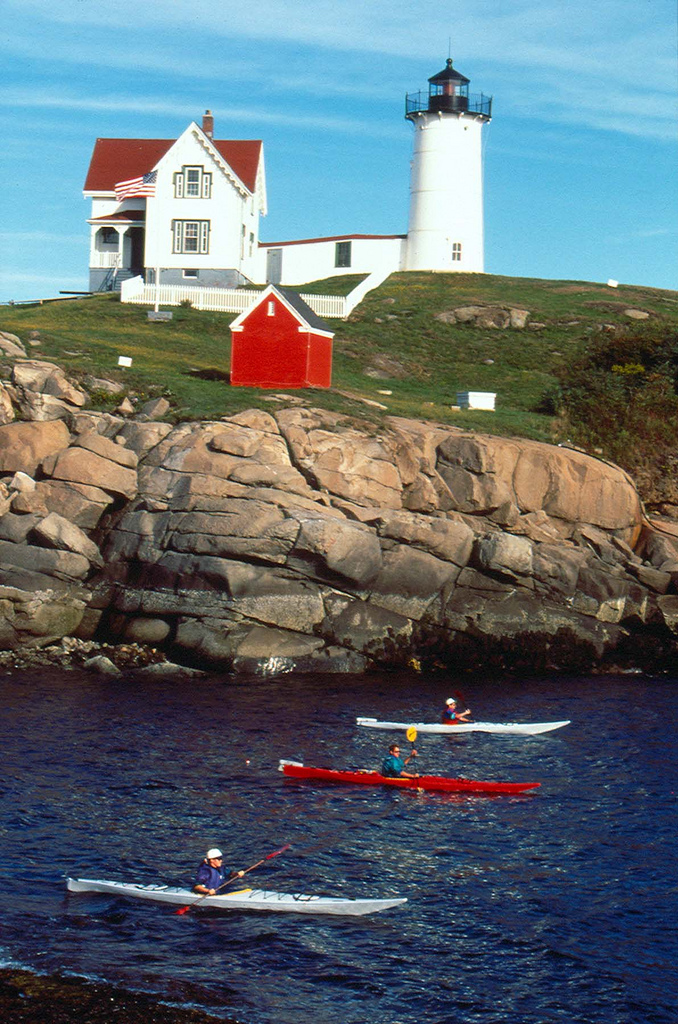 Kayak and Canoe Kayakers at Nubble Light