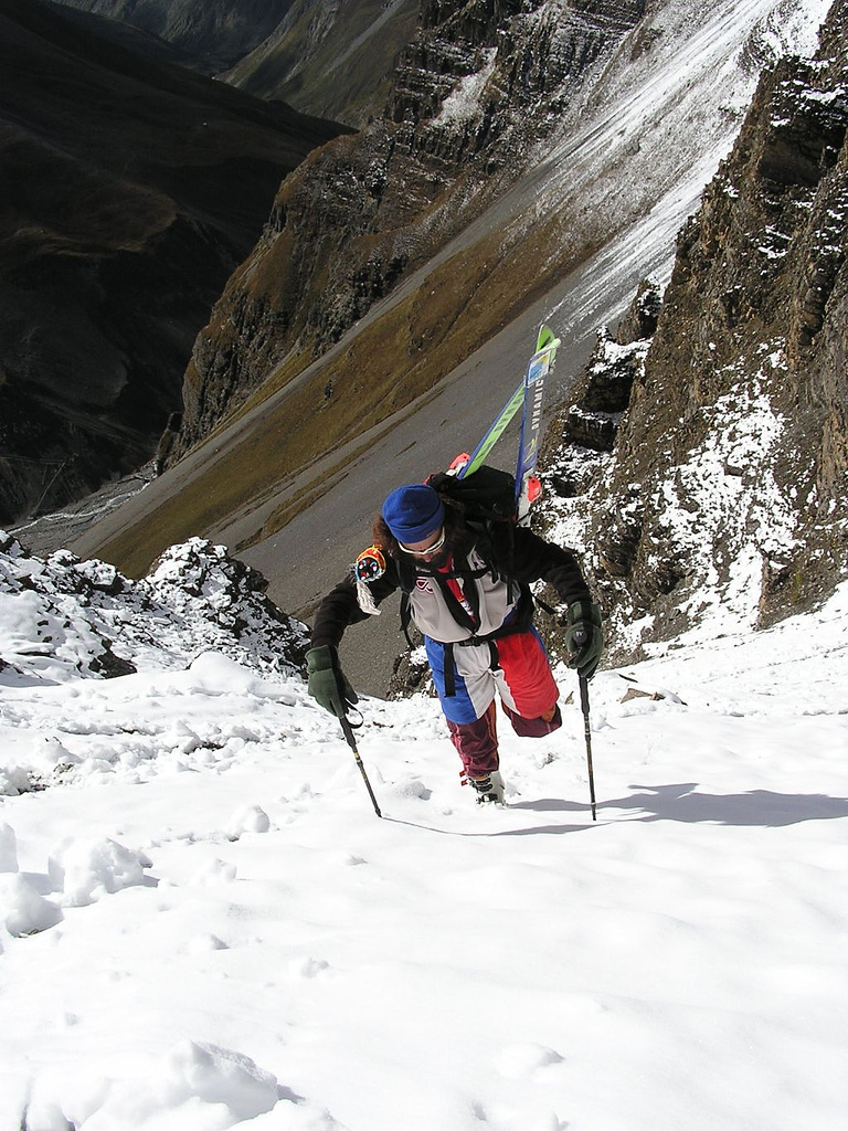 Camp and Hike Skiing and Trekking in Annapurnas. Nepal.