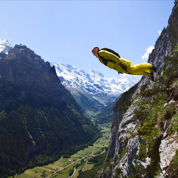 Extreme base jumping enthusiast, Darren Birkin, 43 from Potten End in Hertfordshire