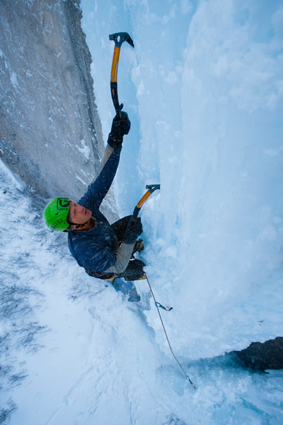 Climbing Matt Lloyd climbs a seldom-formed ice wall in Rifle State Park in Fairplay, Colorado