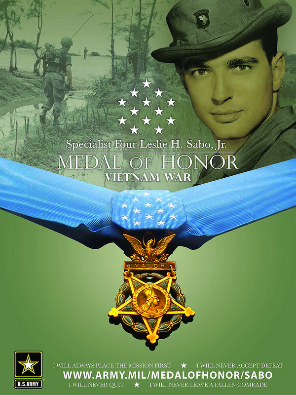 Guns and Military Specialist Leslie H. Sabo, Jr., U.S. Army, was awarded the Medal of Honor for conspicuous gallantry.
