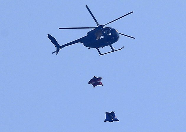 Extreme Stuntman Gary Connery is seen in the sky wearing a specially developed wingsuit near Henley-on-Thames